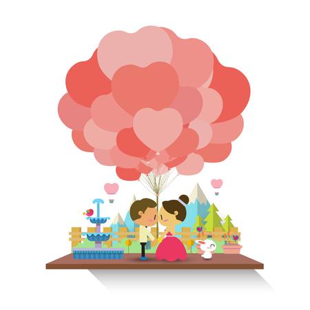 Cute couple background 向量圖像