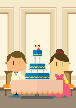 Cute couple and wedding cake