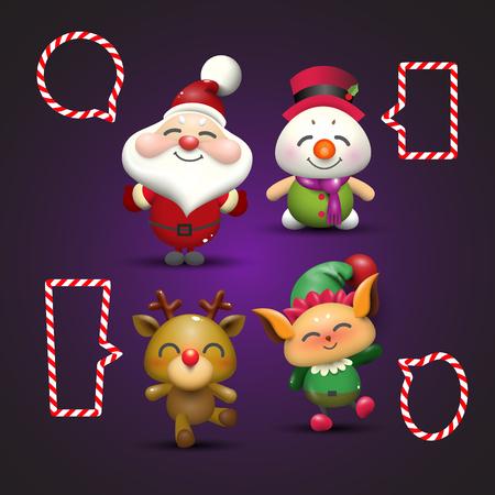 Santa Claus, Snowman, Rudolf reindeer and Elf with bubble banner 向量圖像