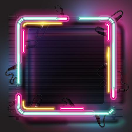 Square neon banner 向量圖像