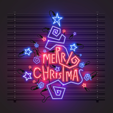 Christmas tree neon design