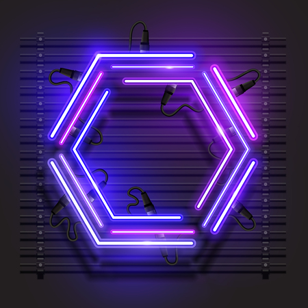Hexagon neon banner