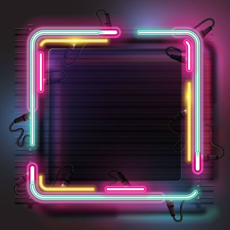 Vector of square neon banner. 向量圖像