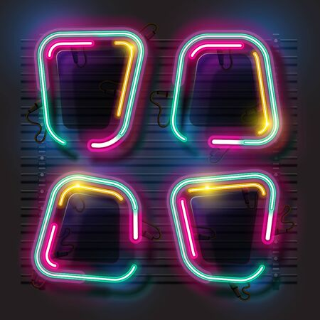 Vector of abstract neon banner set.