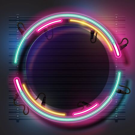 Vector of rounded neon banner design.