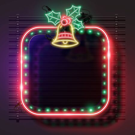 Vector of Rounded square Christmas neon banner.