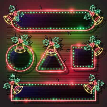 Vector of Christmas neon banner set.
