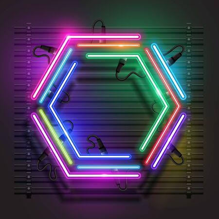 Vector of Hexagon neon banner design. 向量圖像