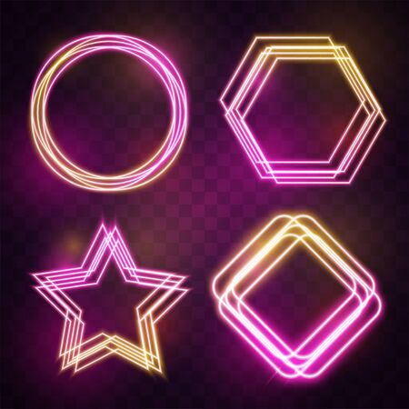 Vector of pink and yellow geometry glowing line banner design.