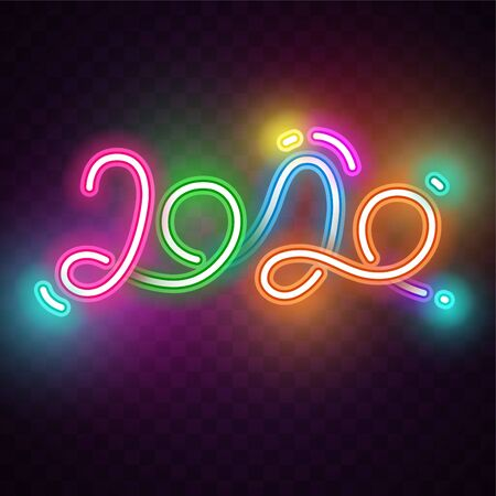 Vector of 2020 neon design 向量圖像