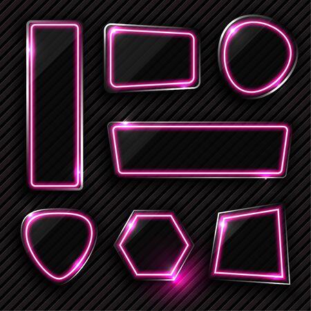 Vector of pink geometry neon banner design.