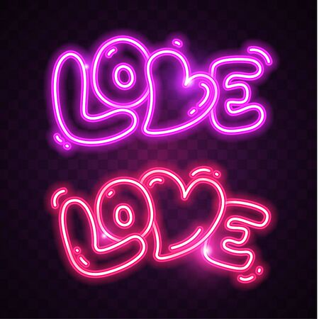 Vector of Love neon on dark background. Glowing neon design for print cards, banner, poster