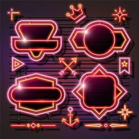 Vector of orange abstract neon banner set design. Retro template banner design. 向量圖像