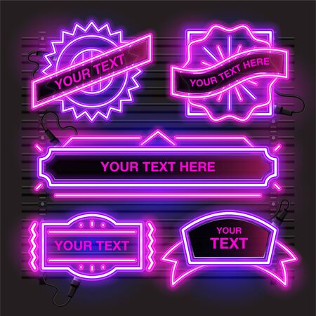 Vector of abstract neon banner design. Retro template banner design with pink and purple combination.