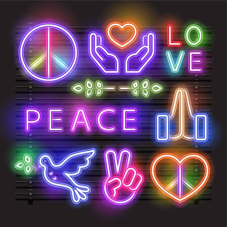 Vector of Peace, Love, Heart and a Dove neon sign.