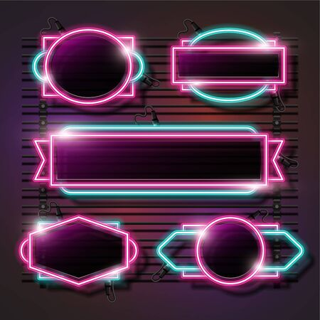 Vector of pink and turquoise abstract neon banner set design. Retro template banner design.