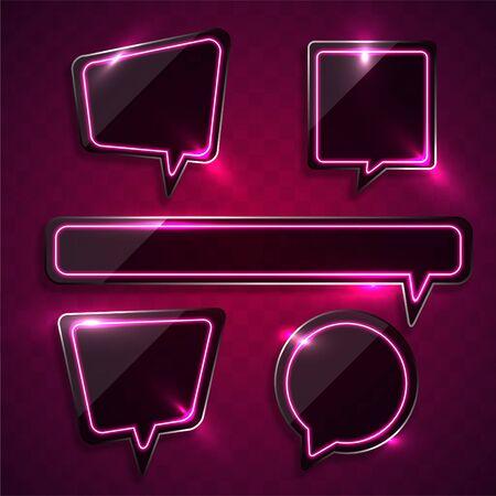 Vector of pink bubble talk geometry neon banner design. 向量圖像