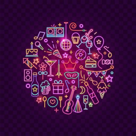 Vector of party icon on rounded shape with a purple atmosphere.