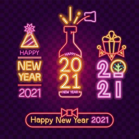 2021. Vector of New year neon banner set.