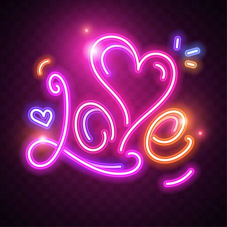 Happy Valentines Day. Vector illustration on dark background. Glowing neon design for print cards, banner, poster 向量圖像