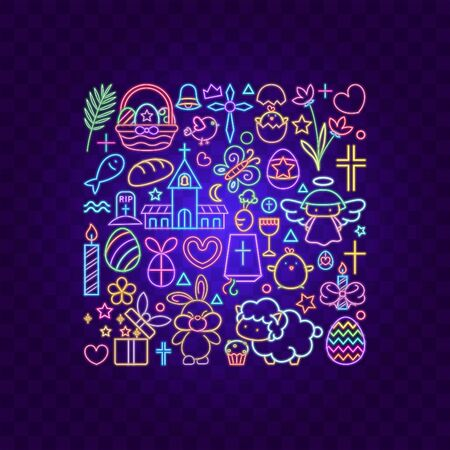 Vector of Easter icon on square shape with a blue atmosphere. 向量圖像