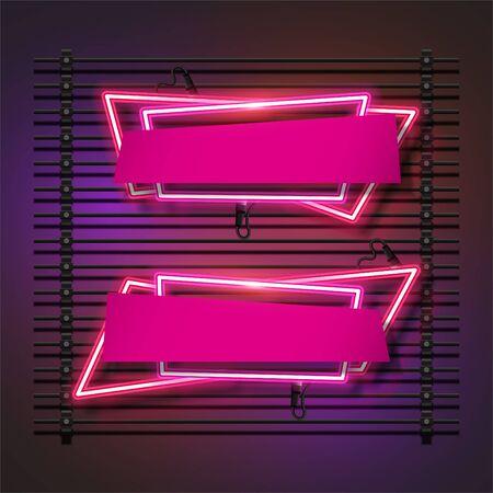 Vector of pink abstract neon banner set design. Fun template banner design.