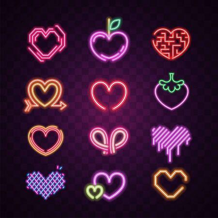 Vector of heart neon sign set.