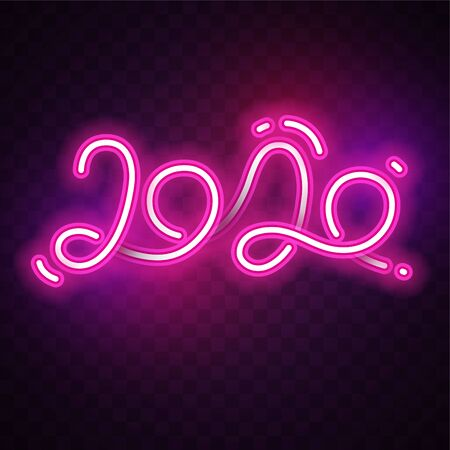 2020. Vector of New year neon banner set.