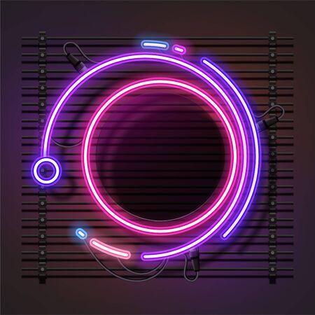 Vector of abstract circle neon banner design.