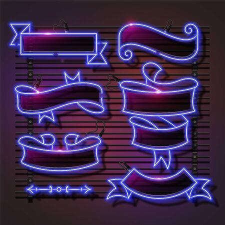 Vector of blue light ribbon neon banner set design. Retro template banner design.