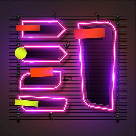 Vector of abstract neon banner set design. Fun template banner design. 向量圖像