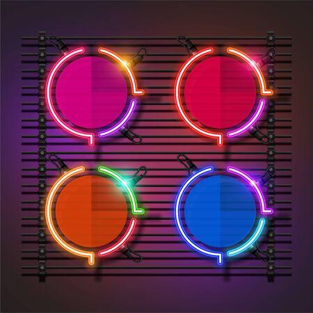 Vector of circle neon banner set design. Fun template banner design. 向量圖像