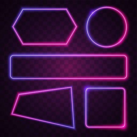 Vector of pink and purple gradient. Geometry neon banner design. 向量圖像