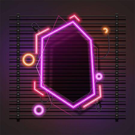 Vector of abstract neon banner design. Retro template banner design. 向量圖像