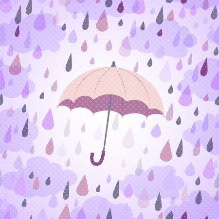 background with an umbrella, a rain and clouds Illustration