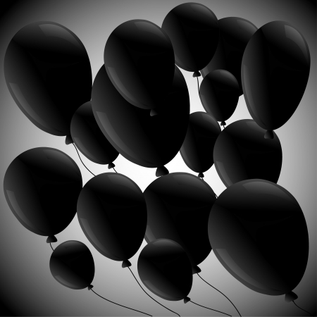 air awareness: black balloons on a diagonal on a gray background Illustration