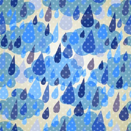 Seamless pattern with clouds and rain with dots Vector