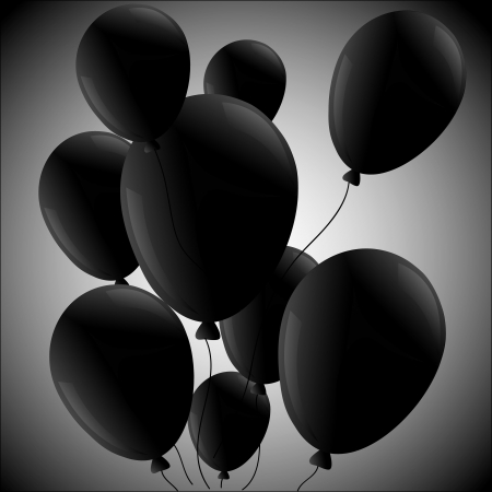 Black balloons  on ralial background