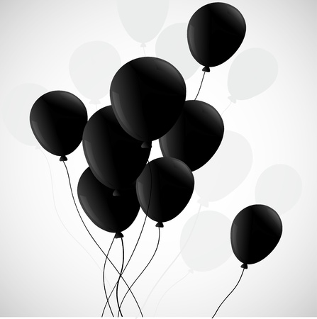 air awareness: Black balloons  on white background Illustration