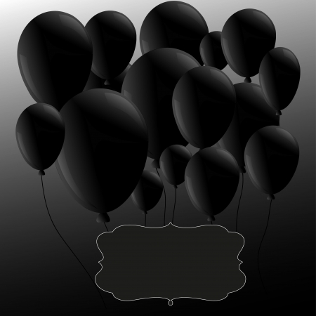 Black balloons  with frame Stock Vector - 15920556