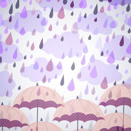 storm rain: background with umbrellas and a rain