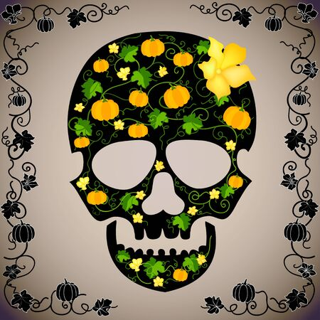 cheerful vector background with a skull Stock Vector - 15920628