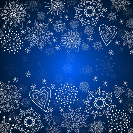 blue cristmas background with white snowflake