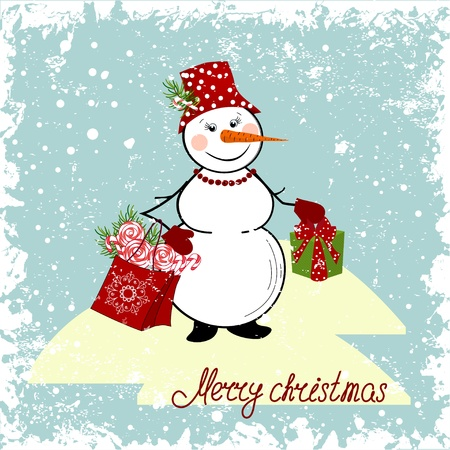 Christmas card with a snowman and gifts Vector