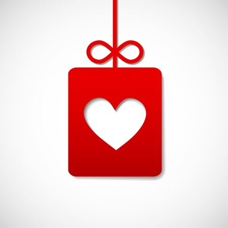 square paper banner with heart for your business