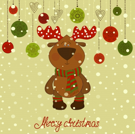 christmas postcard with deer and snow Stock Vector - 16625174