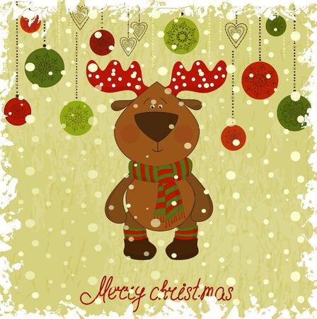 christmas deer whith freezing pattern Illustration