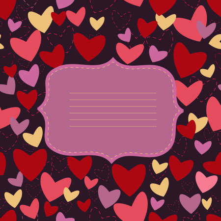 invitation card with heart on turn blue background