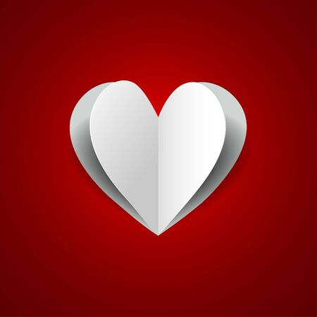 paper heart on red background Stock Vector - 17015763