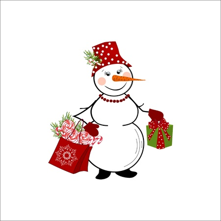 snowman on white background Stock Vector - 17015765
